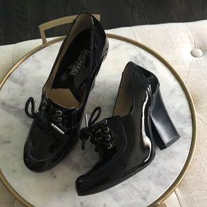 Michael Kors Black Patent Lattington Oxford Shoes